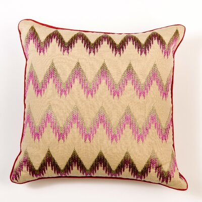Ikat and Suzani All Flame Stitch Linen Pillow Cover Color: Purple