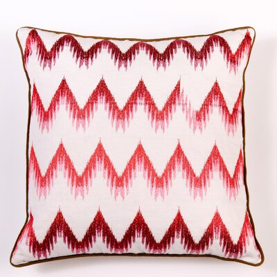 Ikat and Suzani All Flame Stitch Linen Pillow Cover Color: Pink