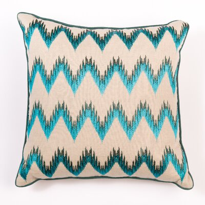Ikat and Suzani All Flame Stitch Linen Pillow Cover Color: Green