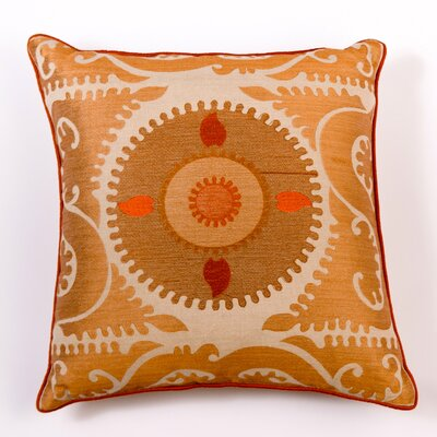 Ikat and Suzani All Suzani Linen Pillow Cover Color: Brown