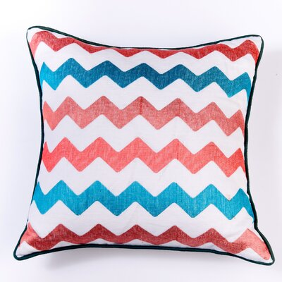 Ikat and Suzani All Chevron Linen Pillow Cover Color: White