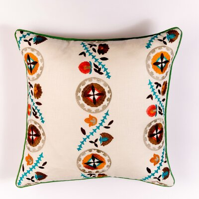 Ikat and Suzani All Kalamkari Linen Pillow Cover Color: Blue