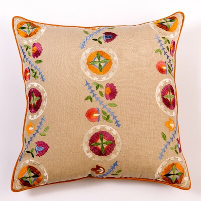 Ikat and Suzani All Kalamkari Linen Pillow Cover Color: Linen