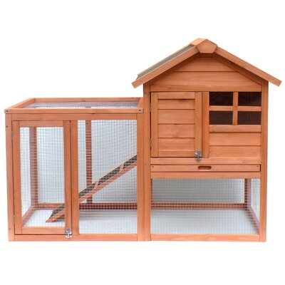 Wooden Rabbit Hutch with Fence and Ramp