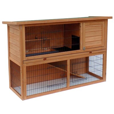 Wooden Rabbit Hutch with Ramp
