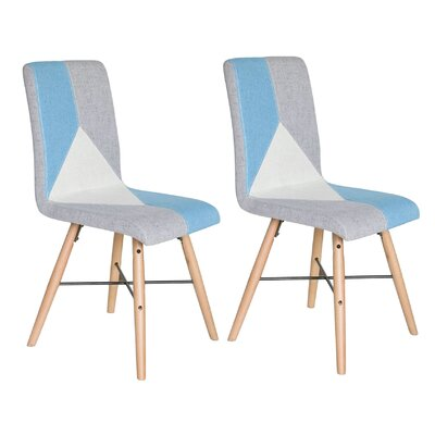 Parsons Chair Upholstery: Blue/Gray/White Linen