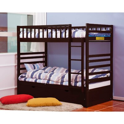 Twin Over Twin Bunk Bed with Trundle Color: Espresso