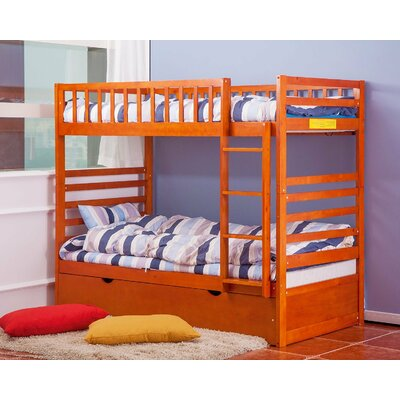 Twin Over Twin Bunk Bed with Trundle Color: Oak