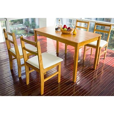Merax Stylish 5-Piece Solid Pine Wood Dining Table Set