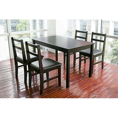 Merax Stylish 5-Piece Solid Wood Dining Set