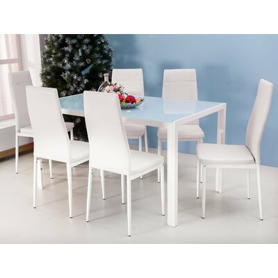 7 Piece Dining Set Finish: White