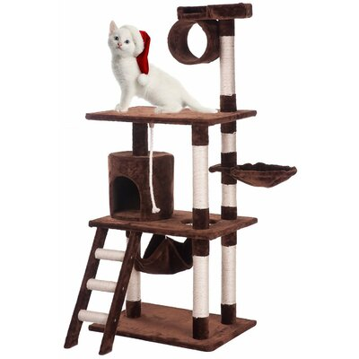 62 Activity Tree Tower Cat Trees and Condos Color: Brown