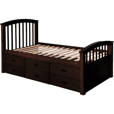 Solid Wood Storage Twin Platform Bed with 6 Drawers Finish: Dark Brown