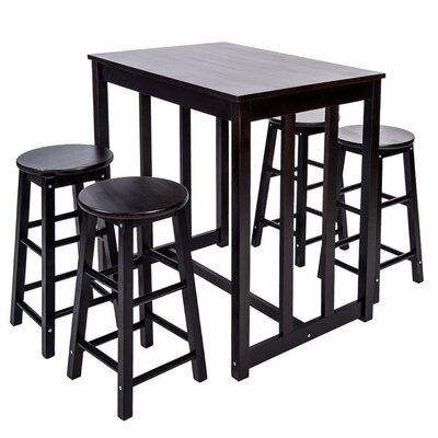 5 Piece Pub Table Set Color: Espresso