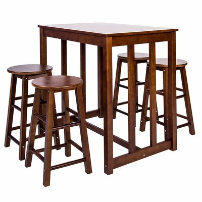 5 Piece Pub Table Set Finish: Merlot