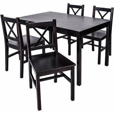 5 Piece Solid Wood Dining Set Finish: Espresso