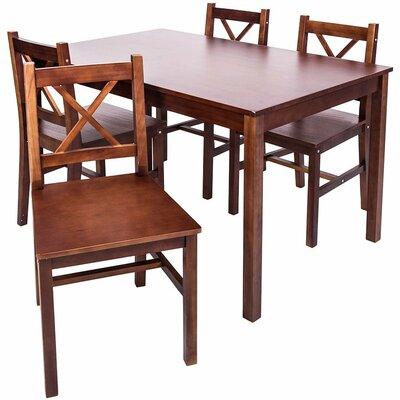 5 Piece Solid Wood Dining Set Finish: Merlot