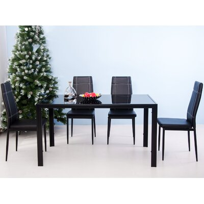 Dimattia 5 Piece Dining Set Color: Black