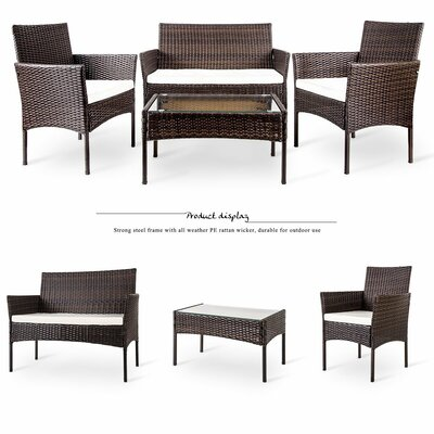 Lia 4 Piece Lounge Seating Group with Cushion