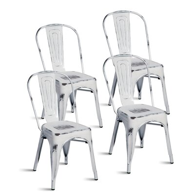 Javier Stackable Tolix Dining Chair Color: Antique White