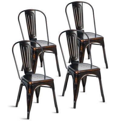 Javier Stackable Tolix Dining Chair Color: Antique Golden Black