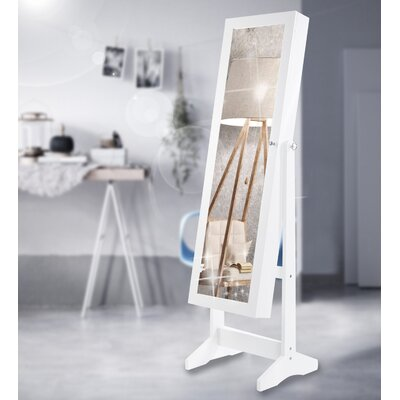 Fairhaven Wooden Free Standing Jewelry Armoire with Mirror Finish: White