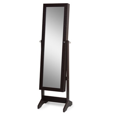 Fairhaven Wooden Free Standing Jewelry Armoire with Mirror Finish: Brown