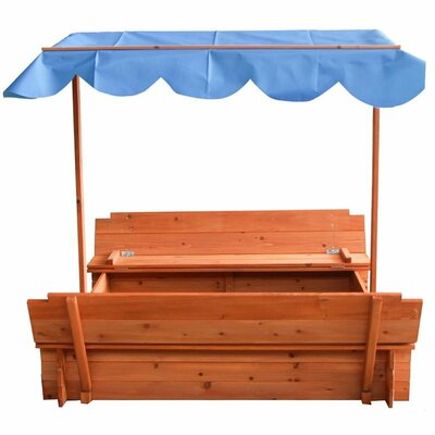 Convertible Cedar 4' Square Sandbox with Canopy and Bench