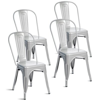 Kinnas Stacking Dining Chair Color: Shiny Silver