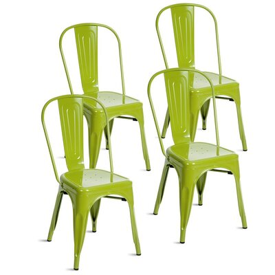 Kinnas Stacking Dining Chair Color: Lime Green