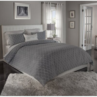 Ogee 3 Piece Duvet Cover Set Size: King, Color: Grey