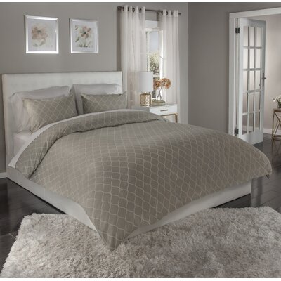 Ogee 3 Piece Duvet Cover Set Size: Full/Queen, Color: Taupe