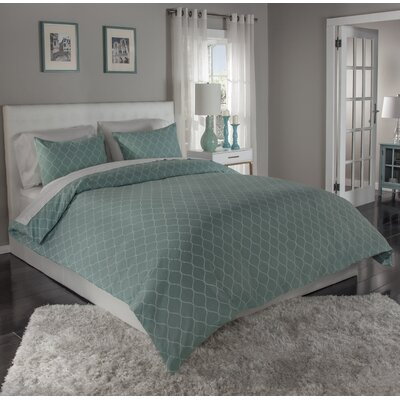 Ogee 3 Piece Duvet Cover Set Size: Full/Queen, Color: Blue