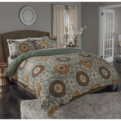 Ottoman Blossom 3 Piece Duvet Cover Set Size: King, Color: Gold