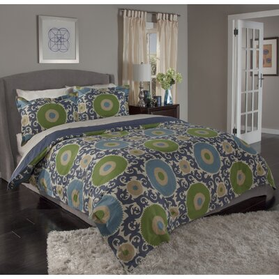 Ottoman Blossom 3 Piece Duvet Cover Set Size: Full/Queen, Color: Indigo