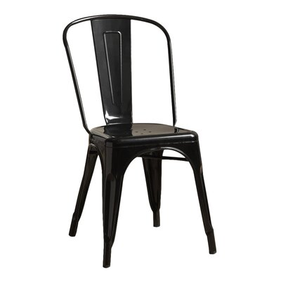 Milania Side Chair Upholstery: Black Glossy