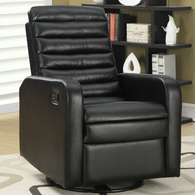 Swivel Glider Recliner Upholstery: Black