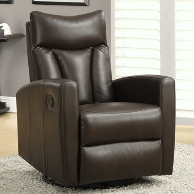 Swivel Glider Recliner Upholstery: Dark Brown