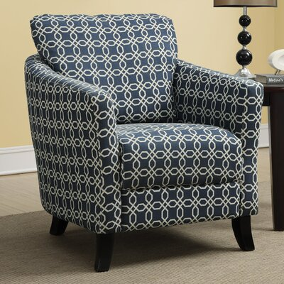 Angled Kaleidoscope Arm Chair Fabric: Dark Blue
