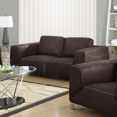 Loveseat Upholstery: Chocolate Brown / Tan