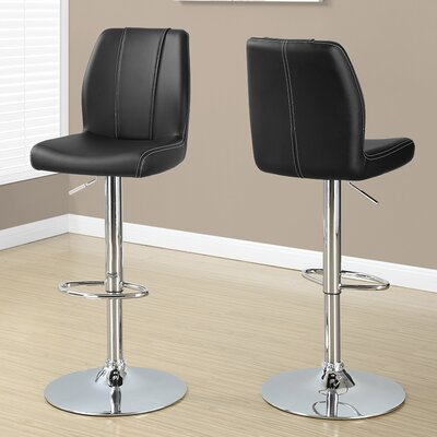 Adjustable Height Swivel Bar Stool Upholstery: Black