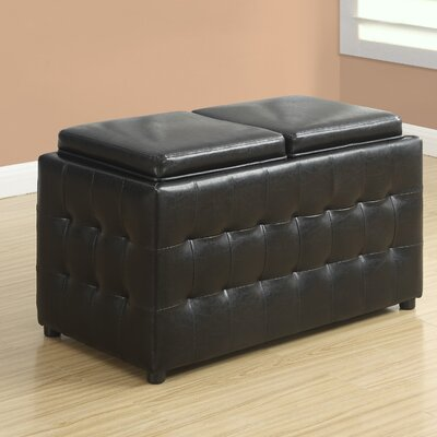 Faux Leather Storage Tray Ottoman Upholstery: Dark Brown