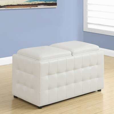 Faux Leather Storage Tray Ottoman Upholstery: White