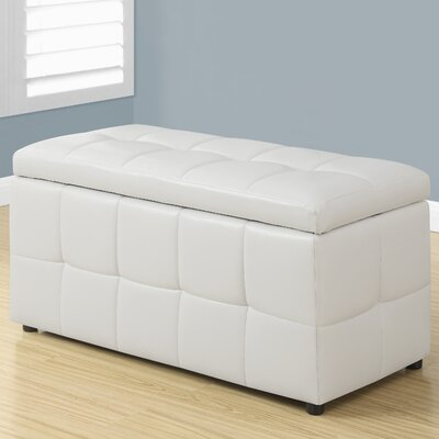 Faux Leather Storgae Ottoman Upholstery: White