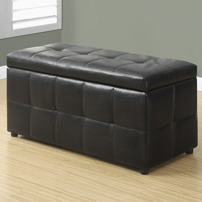 Faux Leather Storgae Ottoman Upholstery: Dark Brown