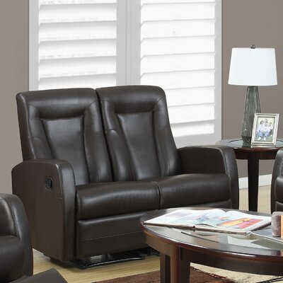 Bonded Leather Reclining Loveseat Color: Brown