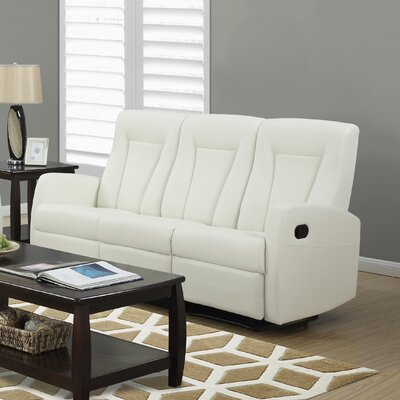 Bonded Leather Reclining Sofa Upholstery: Ivory