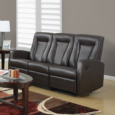 Bonded Leather Reclining Sofa Upholstery: Brown