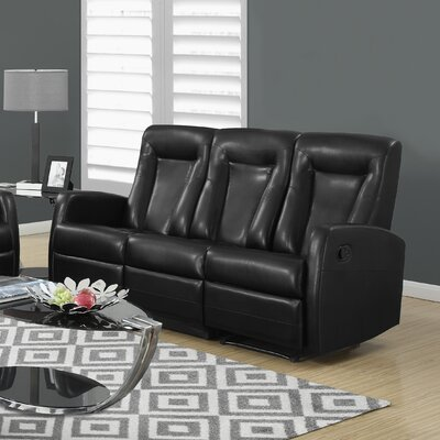 Bonded Leather Reclining Sofa Upholstery: Black