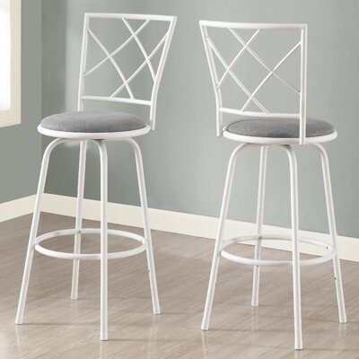 28 Bar Stool (Set of 2) Finish: White / Gray